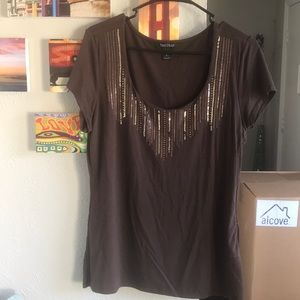WHBM Brown and Gold Blouse